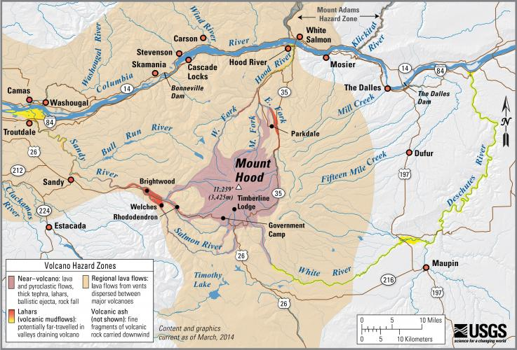 Mount Hood Oregon Simplified Hazards Map Showing Potential Impact Area For Ground Based Hazards