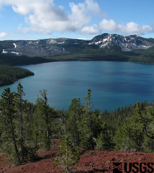 Paulina Lake within the Newberry caldera, Oregon.