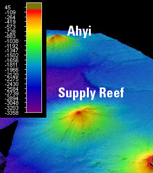 Bathymetric map of Supply Reef Seamount courtesy of NOAA.