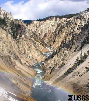 Altered rhyolite cliffs at the Grand Canyon of the Yellowstone.