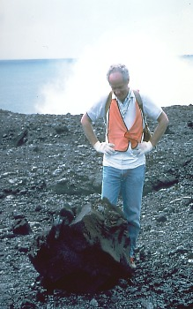 Volcanic block ejected by explosion where lava entered the sea, Kilauea Volcano, Hawai`i