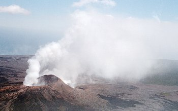 Wind blows volcanic gas rising from Pu`u `O`o vent, Kilauea Volcano, Hawai`i