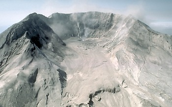 Horse-shoe shaped crater of Mount St. Helens volcano, Washington