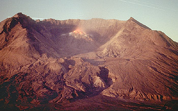 Glowing lava atop the dome in Mount St. Helens crater
