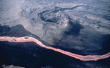 Channelized lava flow on Mauna Loa Volcano, Hawai`i