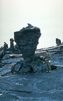Single tree mold with person for scale, Kilauea Volcano, Hawai`i