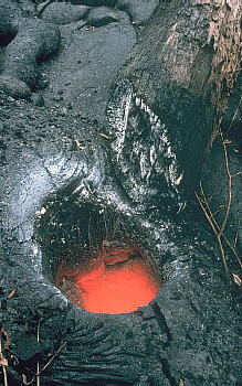Glowing tree mold on Kilauea Volcano, Hawai`i
