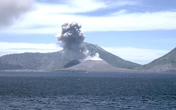 Small eruption column above Tavurvur Volcano in Rabaul Cadera, Papua New Guinea