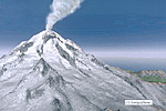 Illustration of volcano and steam plume
